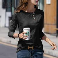 Automne et hiver coton T-shirt Style classique à manches longues solide col rond bouton T-shirt femme élégant T-Shirts hauts 6982 50