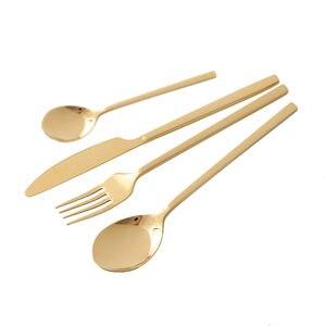 Image 2 - 24 adet yeni altın en kaliteli paslanmaz çelik biftek bıçağı çatal parti çatal bıçak kaşık seti altın çatal bıçak çatal seti