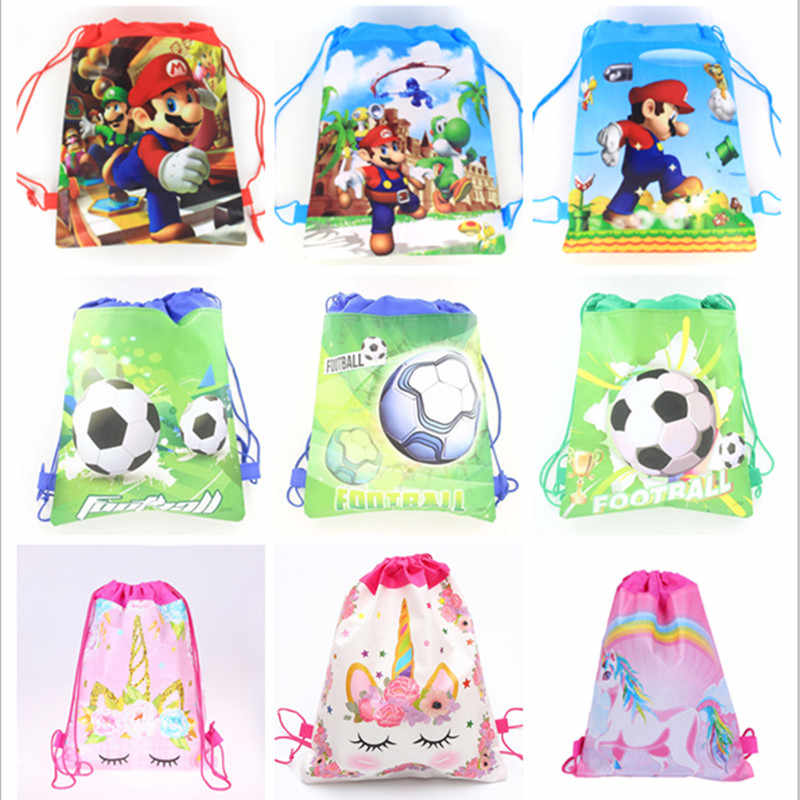 1Pc More Design Fabric Drawstring Bag Backpack for Child Mochilas Infantis School Bag Avenger Unicorn School Knapsack Bags