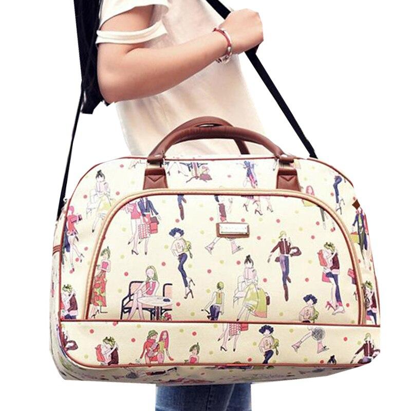 Korean Large-Capacity Women Waterproof Print Travel Bag Female Hand Luggage Bag PU Leather Travel Baggage Luggage Duffle Bag
