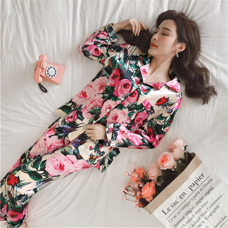Women Pajamas Faux Silk Sleepwear  2 Piece Autumn Winter Homewear Satin Pajamas Set Flower Print Long Sleeves