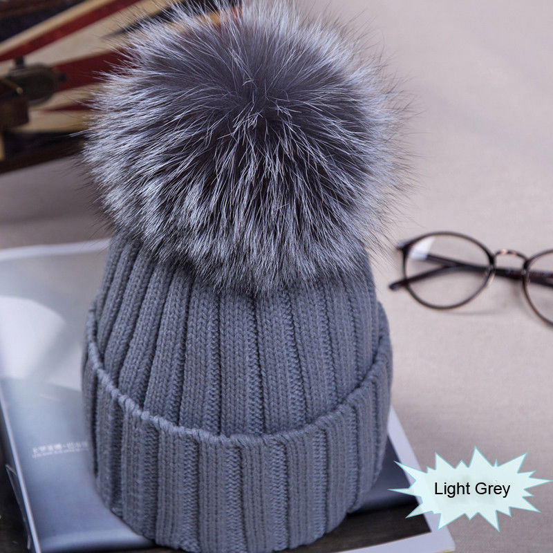 Winter NEW Women Pom Pom Beanies Warm Knitted Bobble Girl Fur Pompom Hats Real Raccoon Fur Pompon Casual Hat Cap