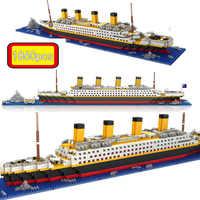 1860 sztuk nie pasuje RS Legoinglys Titanic zestawy rejs model statku łodzi DIY budynku diament Mini bloki zestaw dzieci zabawki dla dzieci