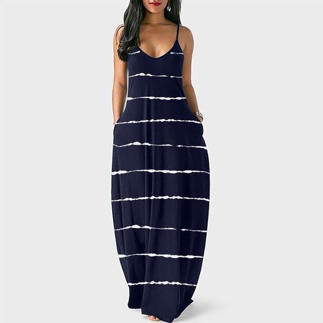 Loose Sexy Long Dress Women Strap Fashion Women's Loose Casual Summer Striped Print Pocket Sling Sleeveless Dress Summer 3