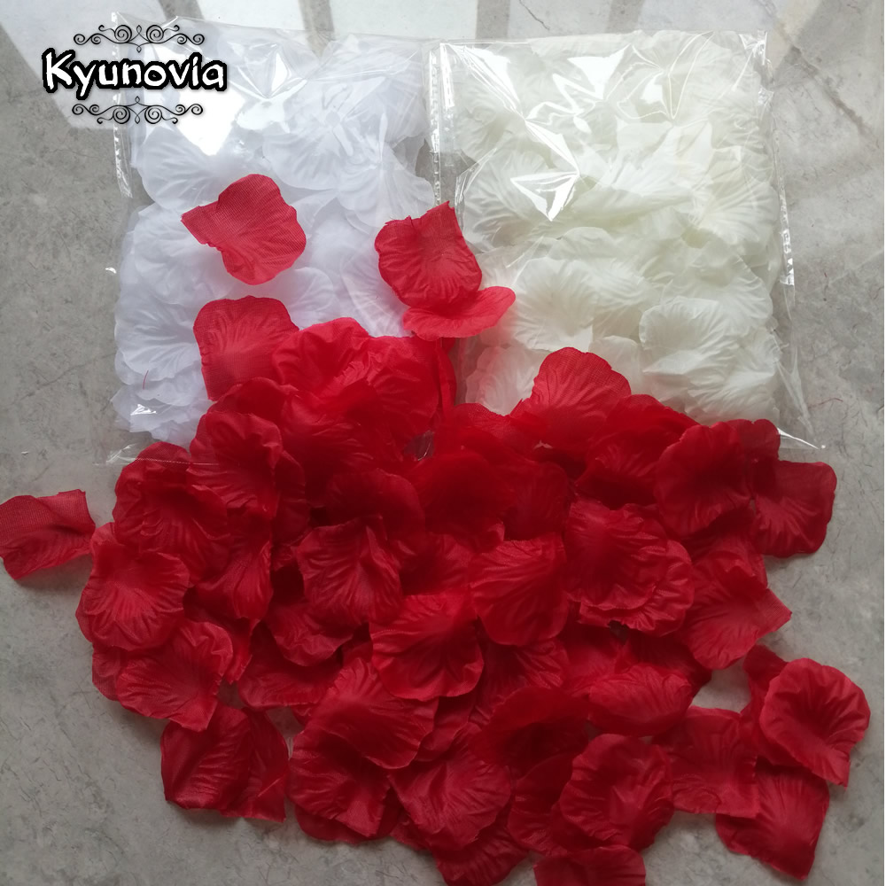 Kyunovia Piecemeal 100pcs Rose Petals Petalos De Rosa Wedding Decoration Artificial Fabric Wedding Rose Petals D138