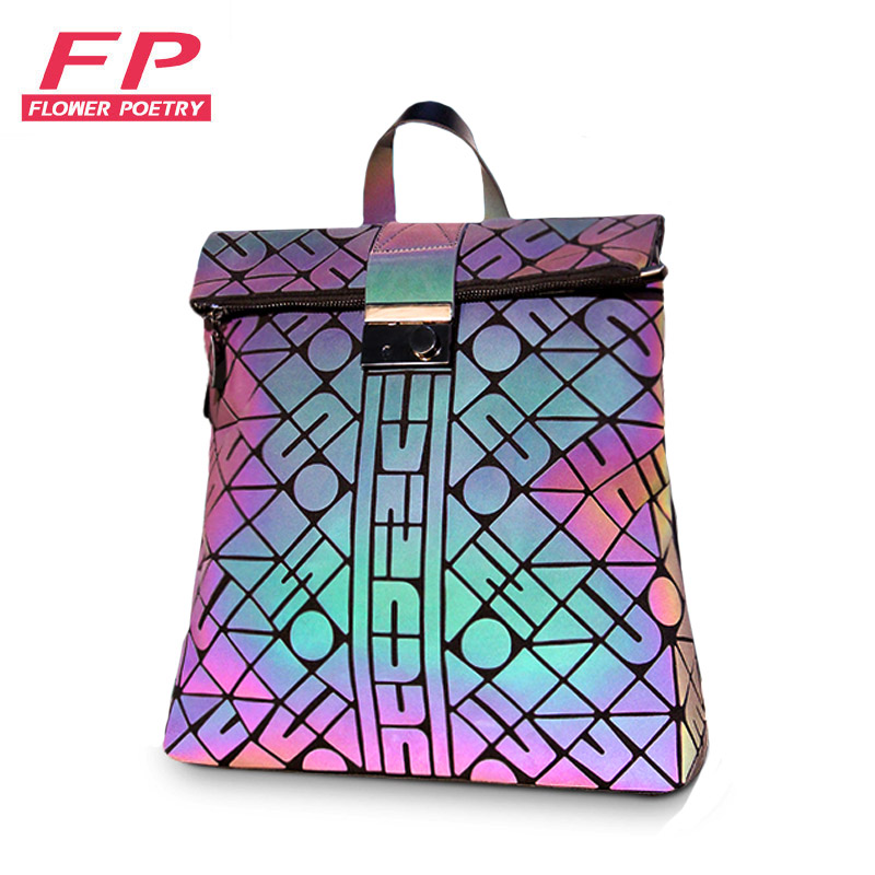 2020 New Geometric Backpacks Women School Backpack Student School Bags Female Luminous Travel Bagpack Bag holographic Mochila
