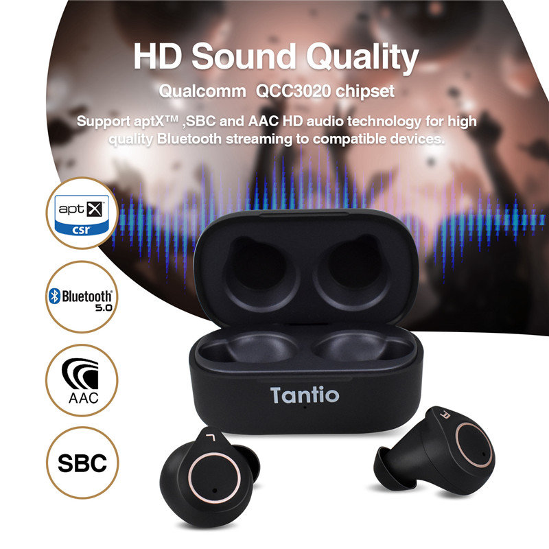 Image 4 - Tantio TWS W1 aptx Bluetooth Headphones with Qualcomm Chipset  Touch Control Totally High Performance Wireless EarphonesBluetooth  Earphones