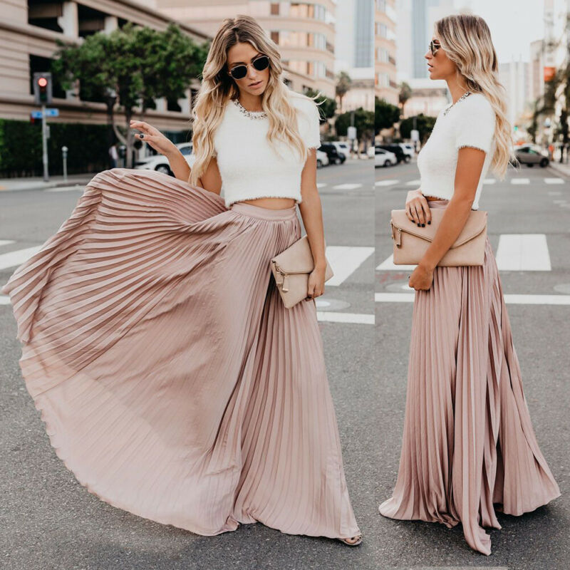 Hot Fashion Ladies Chiffon Pleated Long Skirt Summer Womens Boho Stretch High Waist Skirt Pleated Skirt