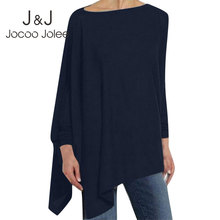 Jocoo Jolee Women Causal Long Sleeve Cotton Blouse Spring Loose Irregular Shirt Female Solid Sweatshirt Female Tops Pullover cheap CN(Origin) Spring Autumn Ages 18-35 Years Old O-Neck NONE Full Batwing Sleeve Casual Broadcloth T164