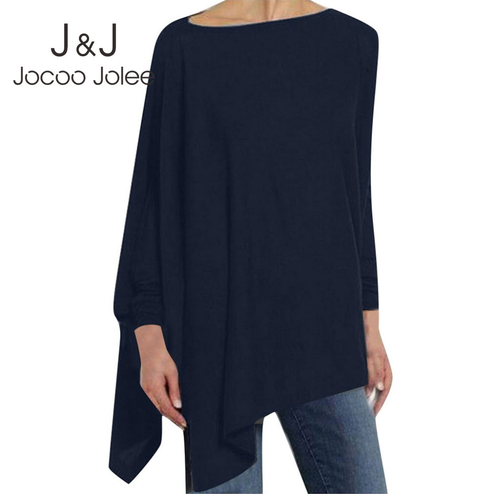 Jocoo Jolee Women Causal Long Sleeve Cotton Blouse Spring Loose Irregular Shirt Female Solid Sweatshirt Female Tops Pullover(China)