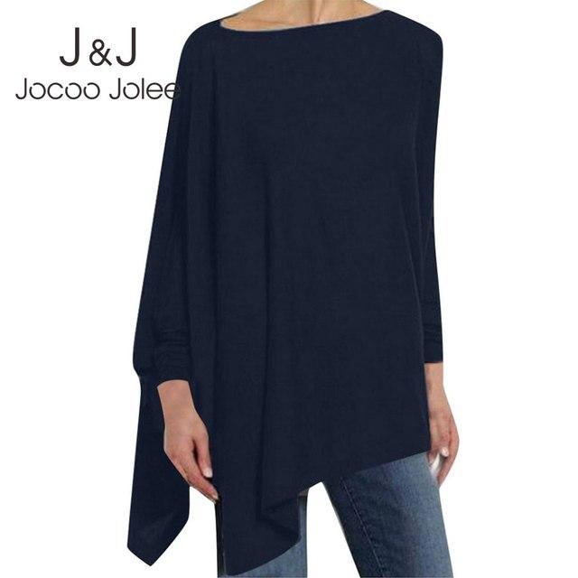 Jocoo Jolee Women Causal Long Sleeve Cotton Blouse Spring Loose Irregular Shirt Female Solid Sweatshirt Female Tops Pullover