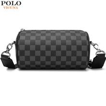 VICUNA POLO Classic Messengerกระเป๋าออกแบบรอบT Manกระเป๋าถือกระเป๋าชายหาดลำลองสีดำชายCrossbodyกระเป๋าbolsa
