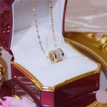 Klasyczny luksusowy kwadratowe cyrkonie złoty wisiorek naszyjnik dla kobiety prosty wykwintny moda łańcuszek do obojczyka biżuteria prezent na rocznicę tanie tanio Midnite Star Miedziane STAINLESS STEEL Wisiorki CN (pochodzenie) TRENDY NASZYJNIKI Cyrkonia ROUND Zgodna ze wszystkimi Rocznica