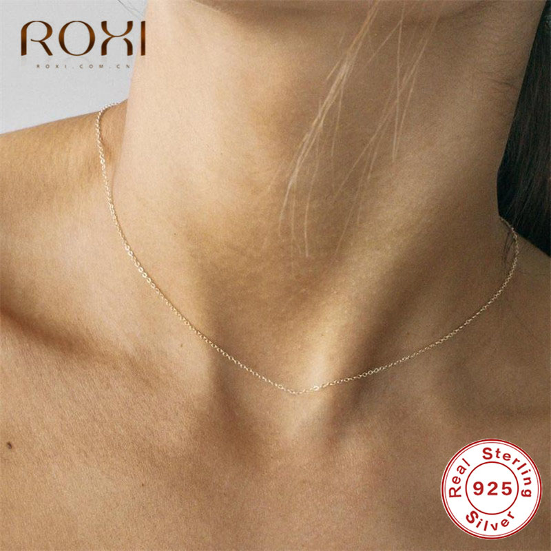 ROXI Classic Clavicle Chain Necklace 100% 925 Sterling Silver Necklace Fashion Jewelry Adjustable Lobster Clasp Choker Necklace