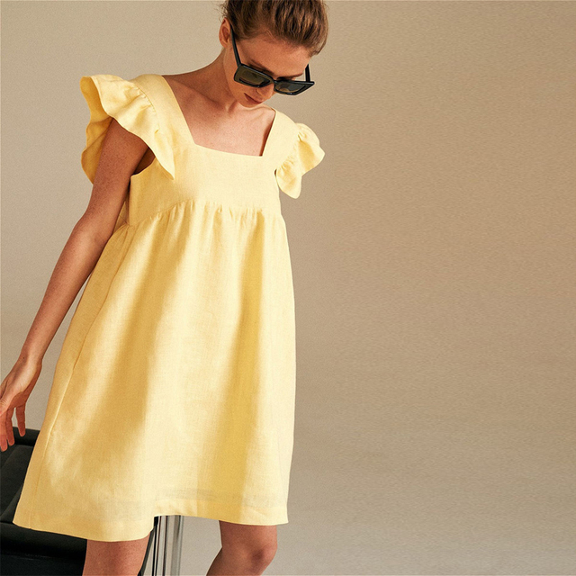 Muiches Casual Square Collar Butterfly Sleeve Mini Sweet Dress Woman Backless High Waist Loose Linen Solid Dress 2021 Summer 2