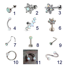 feature 9 pieces piercing kit 16g and 14g body piercing eyebrow barbell lip piercing nose ring nipple barbell tongue ri 1pc Opal Nose Septum Piercing Set Eyebrow Ring Ear Tragus Cartliage Earring Barbell Lip Labret Kit Studs Women Body Jewelry Gift