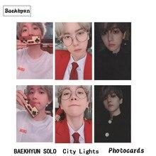 /EXO Baekhyun Solo Album Autograph Photocard City Lights Paper Photo Card Collective Photograph 6pcs/set