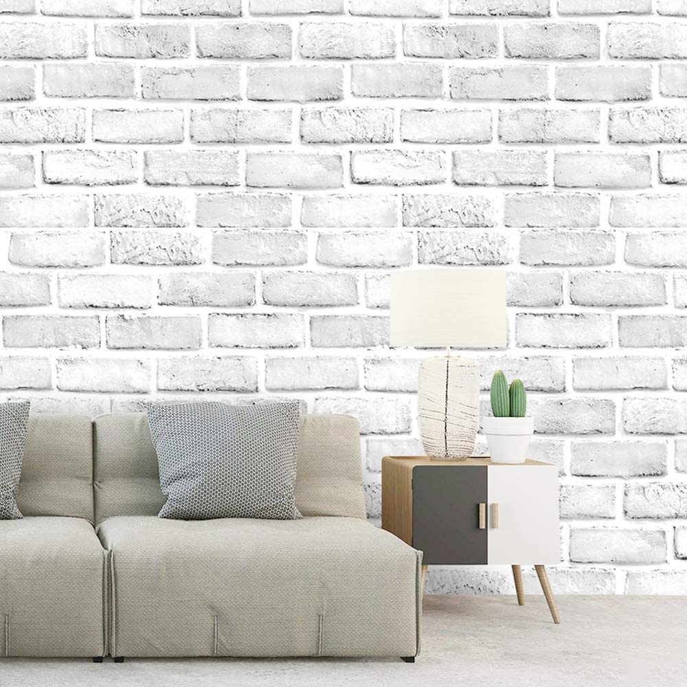 Luckyyj 61022 3 Peel And Stick Faux Brick Wallpaper White Grey Self Adhesive Contact Paper Bathroom Decorative Stickers Wallpapers Aliexpress