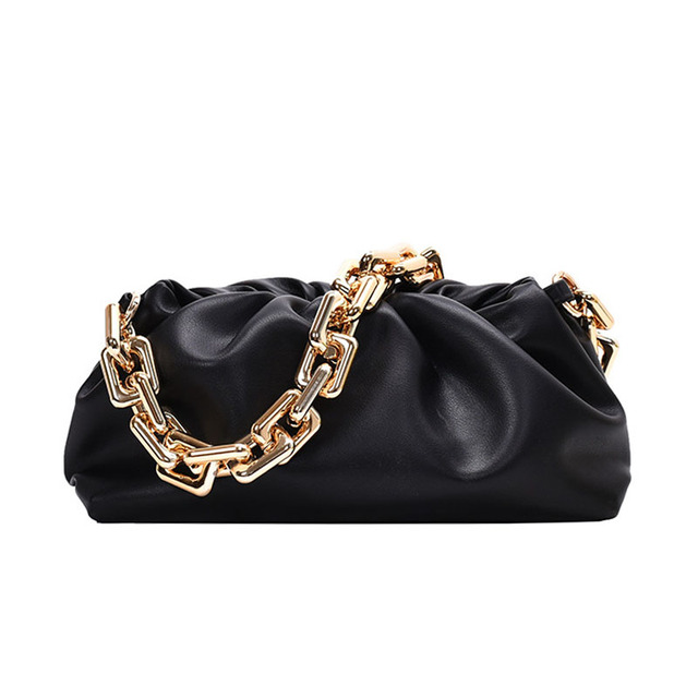Luxury Thick Gold Chains Cloud Bags for Women 2021 Fashion Soft Leather Women's Designer Handbags Trend Crossbody Shoulder Bag 6