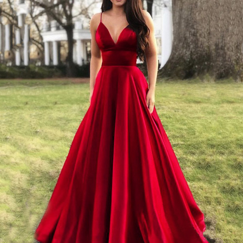 Red Prom Party Dress Sexy V Neck Spaghetti Straps Women Elegant Evening Party Dresses  Summer A Line Sleeveless Formal Robe