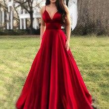 Red Prom Party Dress Sexy V Neck Spaghetti Straps Women Elegant Evening Party Dresses  Summer A Line Sleeveless Formal Robe elegant v neck sleeveless leaf print a line women s maxi dress