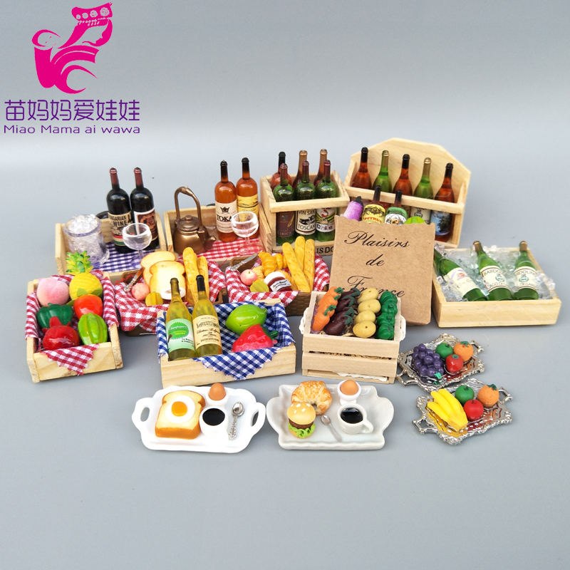 doll house diy accessories Mini food model BJD dolls wine bottle drink breakfirst dishes glasses cutlery for barbie blythe doll