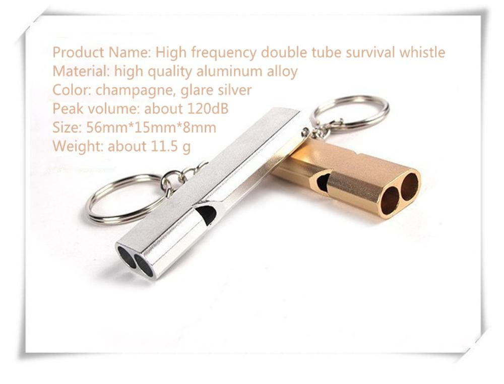 Whistle Equipment EDC Tool Aluminum Alloy Double Frequency Survival Whistle Double Tube Outdoor Survival Rescue