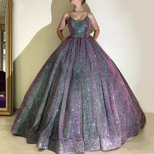 2020 Ball Gown Glitter Evening Dresses Long Corset Back Sleeveless Spaghetti Straps Scoop Neck Formal Party Gowns Robe De Soiree