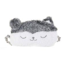Пушистая плюшевая маска для сна повязка на глаза с вышивкой