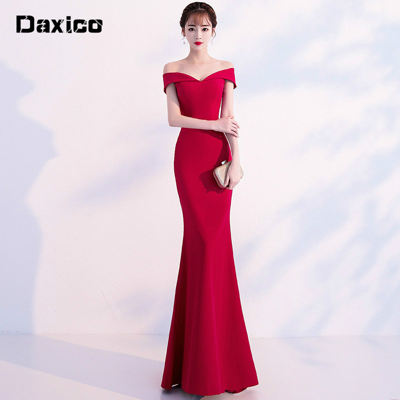Red Trailing Wedding Party Cheongsam Oriental Mermaid Evening Dress Chinese Bridemaid Dresses Women Traditional Vestido Qipao