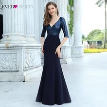 Party-Dress Sequin-Gown Evening-Dresses Ever Pretty Navy-Blue Formal Elegant Longo Mermaid