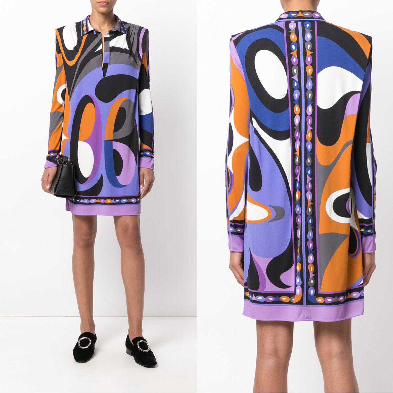 New Fashion Designer Brand Xl Xxl Dress Women S Long Sleeves Purple Geometry Printed Stretch Jersey Silk Day Dress Dresses Aliexpress