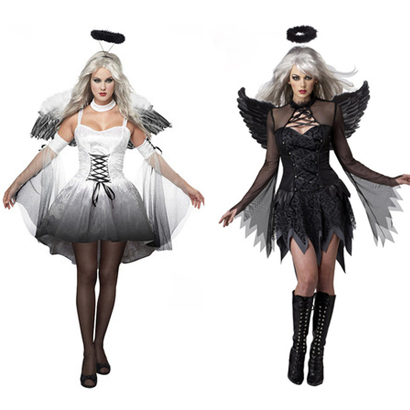 Halloween Costumes White Black Fallen Angel With Halo And Wings Sets Fantasy Cosplay Party Fancy Dress Adult Women Costume