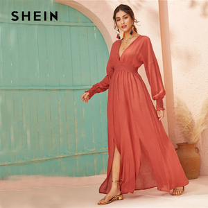 Image 3 - SHEIN Deep V Neck Red Solid Shirred Waist Split Hem A Line Dress Women 2019 Autumn Holiday Long Sleeve Ladies Boho Maxi Dresses
