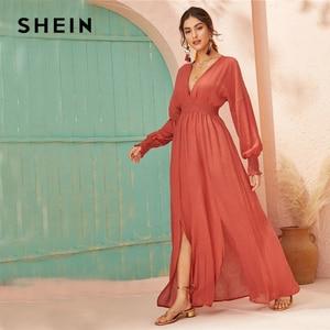 Image 3 - שיין עמוק V צוואר אדום מקושקש מוצק מותניים פיצול Hem קו שמלת נשים 2019 סתיו חג ארוך שרוול גבירותיי boho מקסי שמלות
