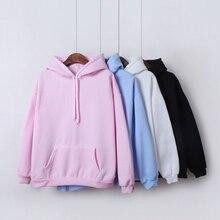 2019 nuevas sudaderas con capucha de Color sólido Harajuku para niñas Tops sudadera de mujer de manga larga de terciopelo de invierno engrosamiento abrigo