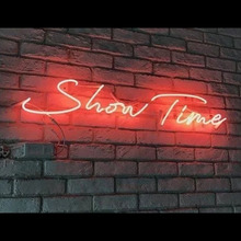 Neon Sign For Show Time Neon Lamp with no background Install Yourself creational shop Business Room Decor advertise design light