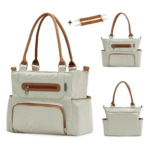 Image 3 - Diaper bag 7 pieces set nappy tote bag large capacity for baby mom dad Travel Bag with Stroller Straps
