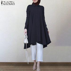 2021 ZANZEA Autumn Shirts Women's Blouse Casual Retro Long Sleeve Asymmetrical Robe Shirts Female Solid Islam Turkish Clothing