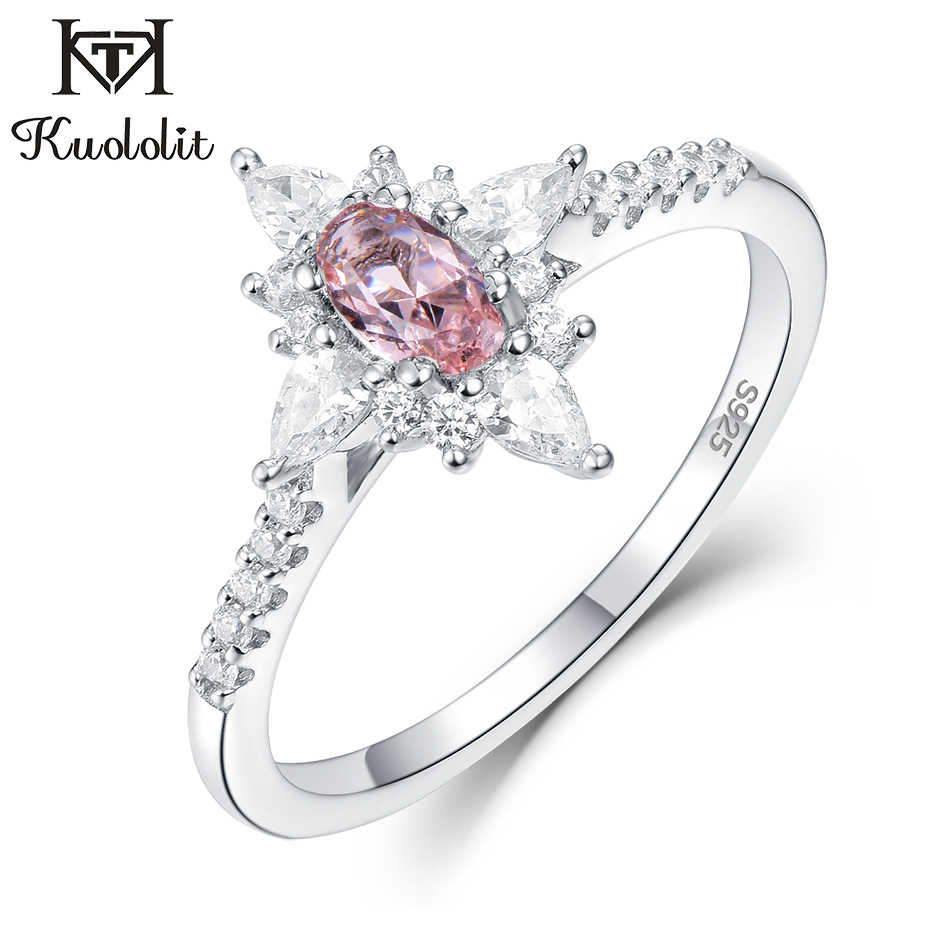 Kuololit Morganite Gemstone Rings for Women 925 Sterling Silver Oval Cut Created Stone  Ring Engagement bride Gifts Fine Jewelry