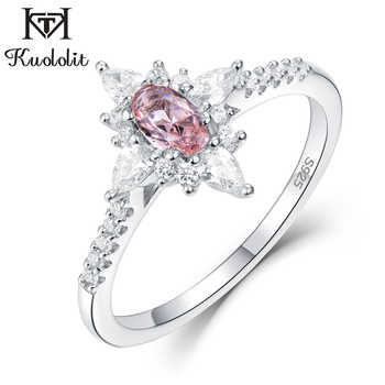 Kuololit Morganite Gemstone Rings for Women 925 Sterling Silver Oval Cut Created Stone  Ring Engagement bride Gifts Fine Jewelry - DISCOUNT ITEM  40% OFF All Category