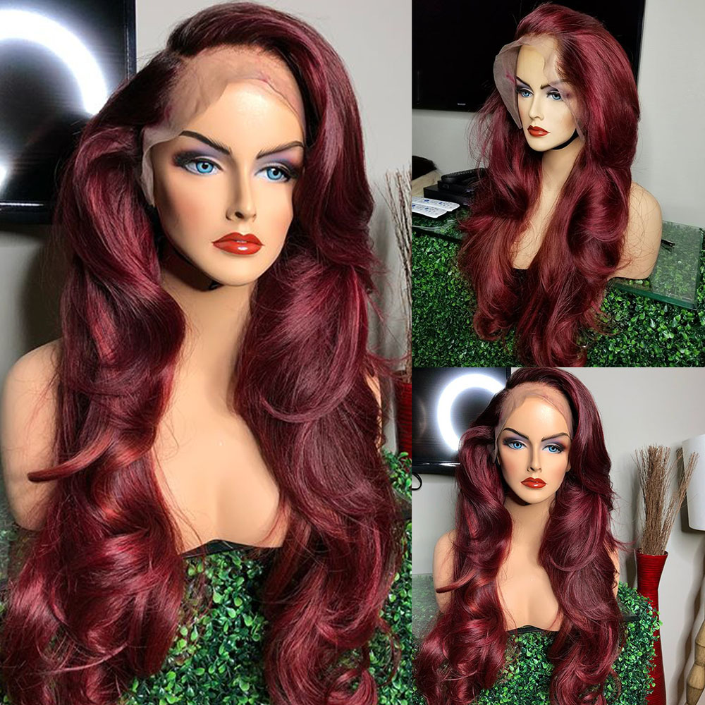 Glueless 250 Density 13x6 Deep Part Lace Front Human Hair Wigs Preplucked With Baby Hair Remy Red Wigs For Women Loose Body Wave