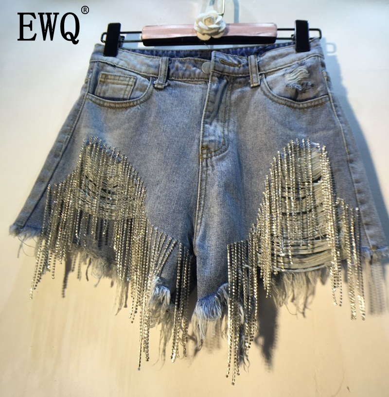 [EWQ] 2020 Spring Summer 2020 Wear Heavy Tassels Nail Diamond Beads High All-match Thin Waist Cowboy Shorts Women AE32305