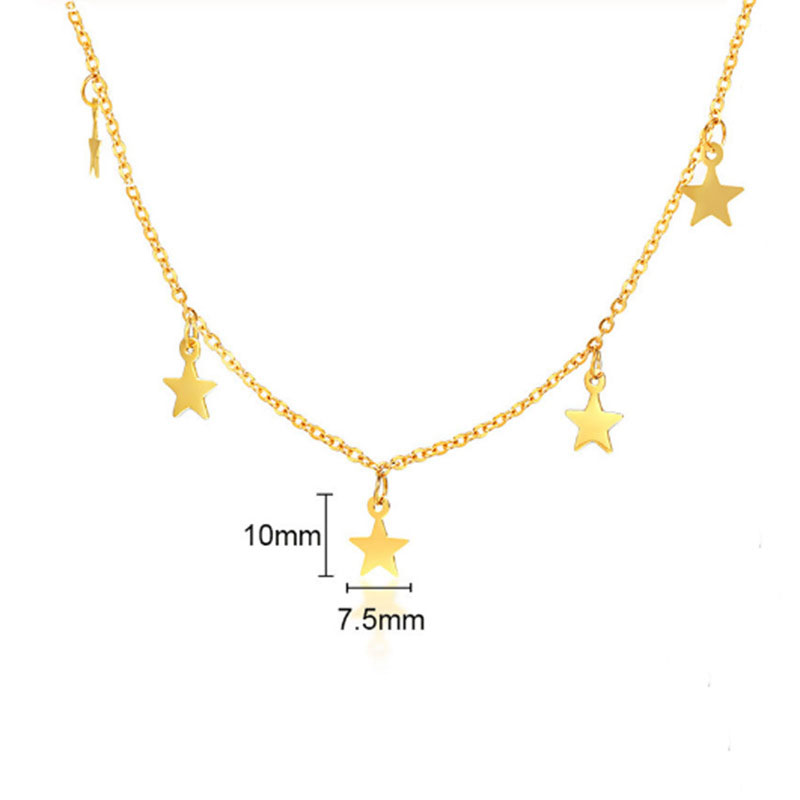 Temperament Five-pointed Star Pendant Necklace Titanium Stainless Steel Jewelry Fashion Glamour Lady Party Birthday Gift