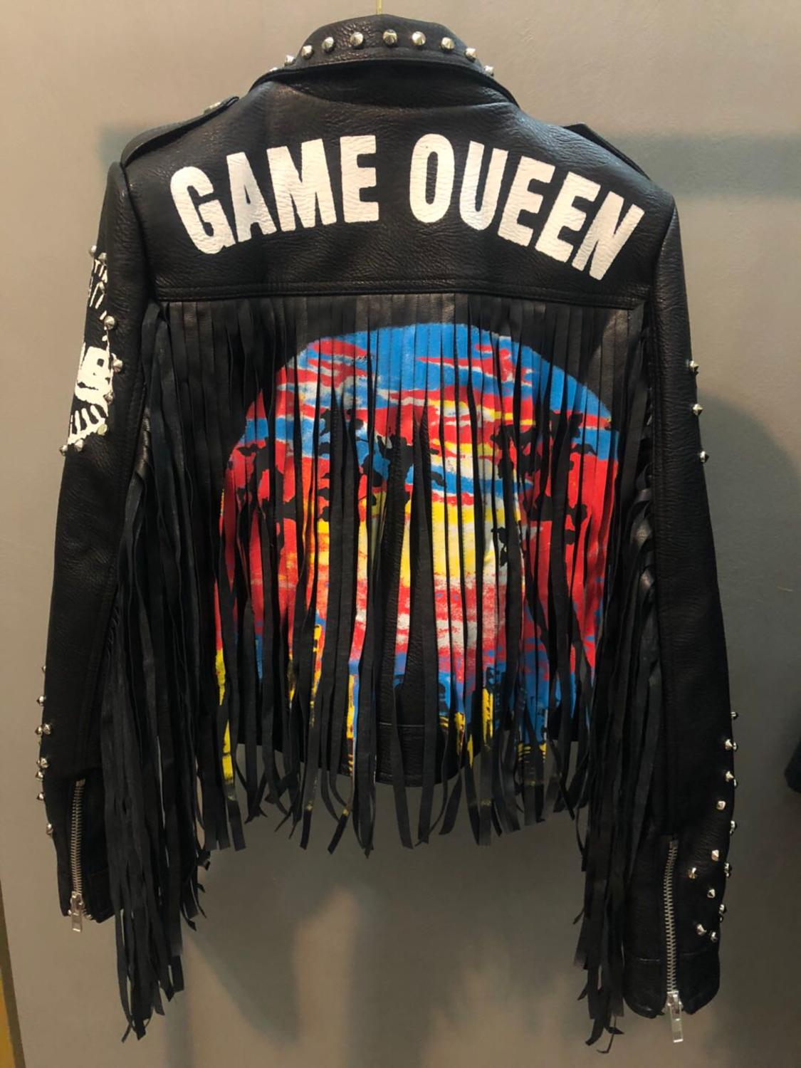 Autumn Spring Graffiti Studs Beading Women Pu Leather Jacket Punk Style Motorcyle Tassel Leather Jackets Coats Streetwear F802