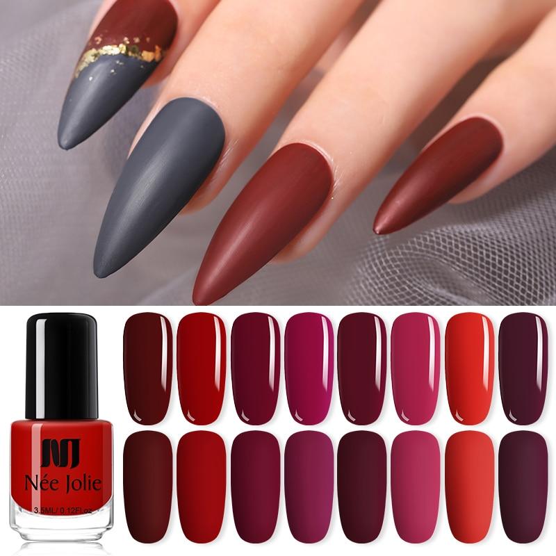 NEE JOLIE 3.5ml Solid Color Matte Nail Polish Colorful Black White Red Long Lasting  Matte Nail Varnish DIY 82 Colors