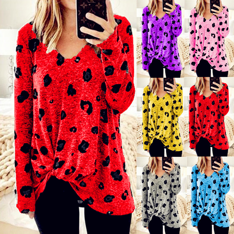 Women Spring Winter Tees Female 2019 Leopard Long Sleeve Befree Boho Casual Tops Feminino Ladies Big Large <font><b>T</b></font> <font><b>Shirts</b></font> Plus Sizes image