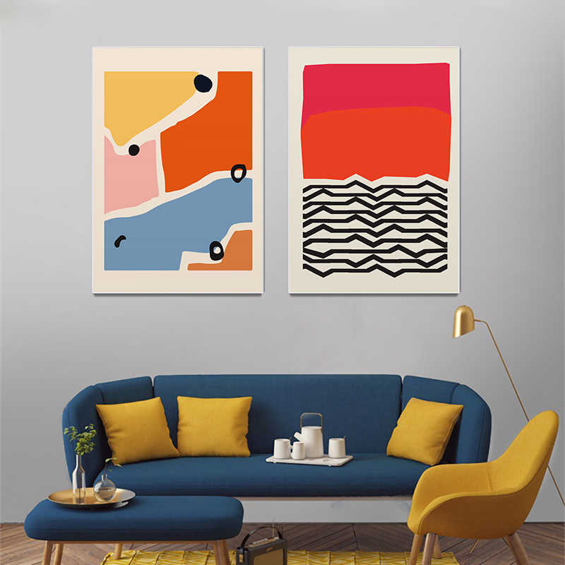 Modern Colorful Yellow Red Poster Geometric Abstract Canvas Painting Nordic Wall Art Print Picture Living Room Home Decoration-50X70Cmx3 Unframed