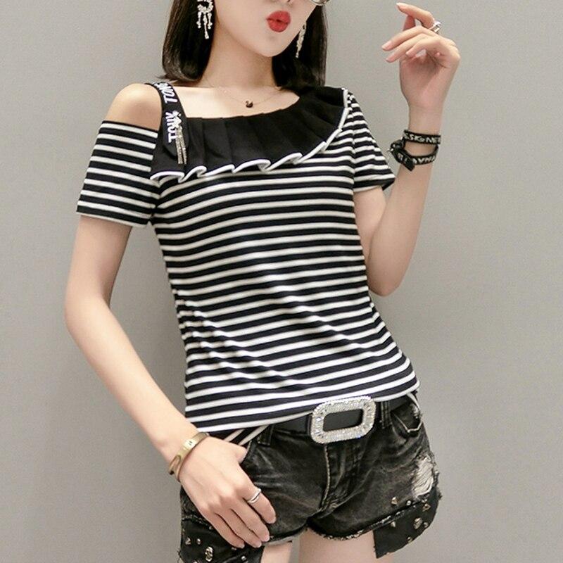 2020 Summer Fashion Sexy Slash Neck Ruffles T-shirt Women Cotton Off Shoulder Tops Korean Clothes Shirt Ropa Mujer Tees T01001