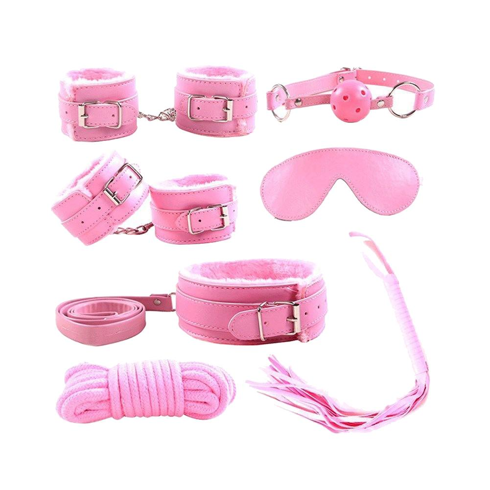 7Pcs Bondage Set Handcuffs Whip Eyemask Neck Collar Rope Sex Restraining Toys Absolutely Bring Endless Sexual Fun For You